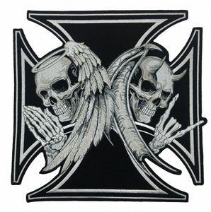 NEW ARRIVAL LARGE SIZE CROSS DEATH DEVIL SKULL PATCH 천사 SKULL 오토바이 BIKER 수 놓은 BACK PATCH IRON ON SEW 무료 배송 uN81 번호