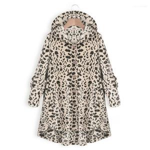 Сыпучие капюшоном однобортный пальто Женский Vestidoes Плюс Размер одежды Женщины Новый Leopard Мода куртки Casual