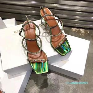 Идеальный Official качества Амина Muaddi обувь Кристалл Украшенные сандалии женщин конструктора 80мм Высокий каблук Джильда кожа сандалии y1