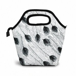 Эму перо обед мешок обед / Ледовые сумки Портативный Изолированный Пикник Box Для женщин Для мужчин IzNl #