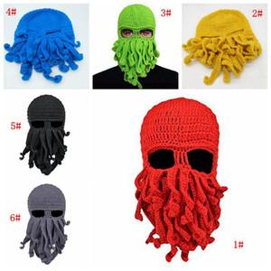 Unisex pulpo de punto de lana pasamontañas Cara partido del acontecimiento de Halloween de punto Cap calamar sombrero fresco divertido tentáculo de pulpo Beanie sombrero regalo aC BH3992