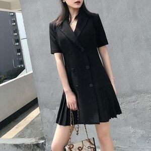 4wQ3y 2020 Summer new OL temperament pleated waist suit collar Women's wear in summer 2020 Season xin nv zhuang high waist slimming dress fo