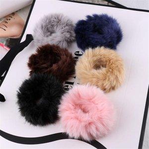 Morbido Fluffy Faux Fur Fuzzy Rope Noble Hairband Scrunchie anello elastico dei capelli Fasce Accessori per capelli elastici Beige Rosa Capelli