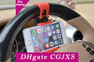 Free Dhl Universal Car Steering Wheel Cradle Cellphone Holder Clip Car Bike Mount Stand Flexible Phone Holder Extend To 86mm For Iphon6 Plus