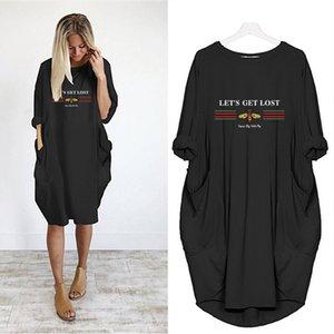 Kadınlar Günlük Elbiseler Kadın Katı Renk Etek Harf ve Arı Baskı Elbise Gevşek Versiyon 2020 Yaz Elbise Kız 2020 Yeni Toptan