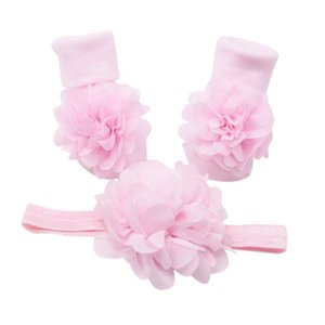 HIgh Quality 2Pcs Baby Girls Cute Lace Floral Cotton Anti-slip Socks With Big Flower Hairwear Set