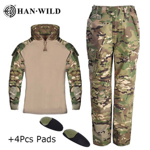 Kids US Army Tactical Military Uniform Airsoft Camouflage Combat-Proven Shirts Pants Rapid Assault Long with Pants and Knee Pads