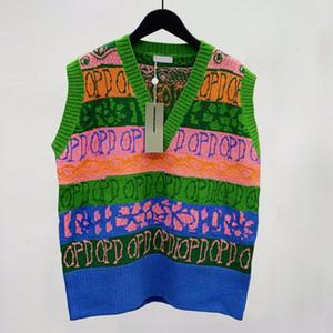 Sin mangas de punto de color 20FW concede la chaqueta del suéter que hace punto con cuello en V camiseta de la calle Hombres Mujeres el otoño del resorte solo pecho HFHLJK127