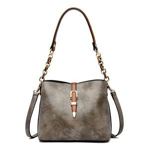 Vintage Bucket Women Messenger Bags Women's Genuine Leather Handbags Fashion Chains Shoulder CrossBody Bags High Quality
