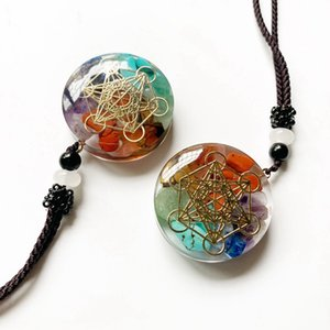 Gioielli Metatron collana Chakra pendente di energia naturale Orgonite Chips Sri Yantra Reiki Healing collane del pendente