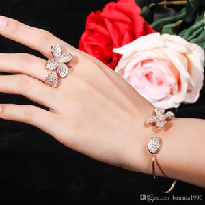 Tennis Bridal Zircon Open Cuff Bracelet and Ring Jewelry Set Valentine's Day Best Gift For Her