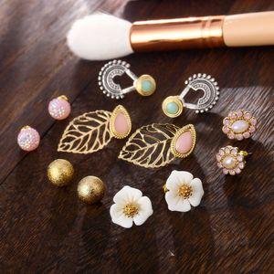 New Fashion Elegant Women Earrings Sets Cute Pink Flower Pearl Leaf Ear Stud Mix 6 Pairs Earrings Girls Party Jewelry