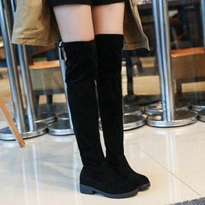 Burst Winter New European and American Boots Thin Than Knee High Roller Women's Stretch Boots Cotton Roller Martin BootsLH100036