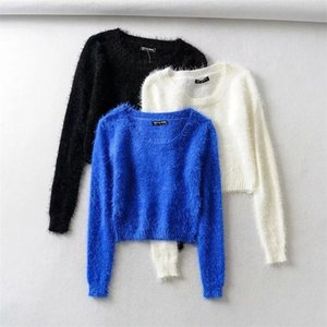 Hot Sale Women tight-fitting elastic high waist short furry navel long-sleeve pulloverll-over Fuzzy Cropped sweater
