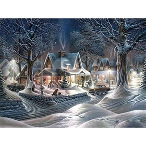 DIY 5D diamante pintura del paisaje de invierno la nieve paisaje mosaico completo diamante redondo bordado árbol de la Cruz de regalo de Navidad