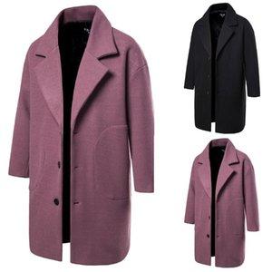 Мужчины Зимняя шерсть пальто Мужская Новая мода сплошной цвет теплый толстый Шерсть бленды Шерстяной Горох Coat Мужской Trench Шинель