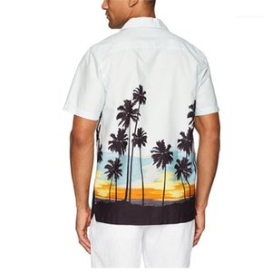 Beiläufige Mens-Shirts Sommermens Designer Hemd Mode Blumenmuster Short Sleeve-Revers-Neck Shirt Beach Holiday Stil