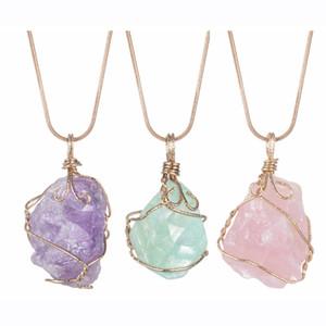 Catena lunga prime naturali di cristallo collana pendente di Roungh è caduto gioielli Pietra Roccia Healing irregolare a mano Yoga per le donne