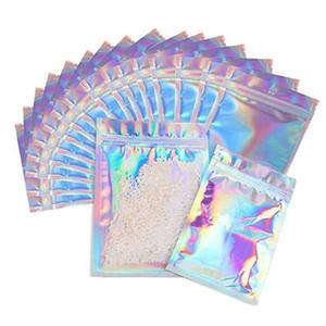 홀로그램 컬러 다중 크기 냄새 가방 100 조각 Resealable Mylar Bags 삭제 지퍼 잠금 식품 사탕 저장 포장 가방