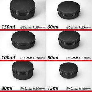 Les contenants ronds cosmétiques Jars en aluminium noire vide Organisateurs Tins Filetage couvercle en métal Case Can Maquillage Snack Thé 2 2mlc C2