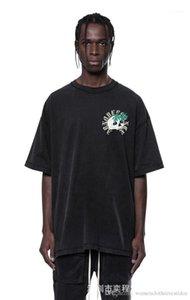 Shir Casual Tops lavado Masculino Vestuário Designer Mens Skulls impresso do T da forma solta cor sólida manga curta T