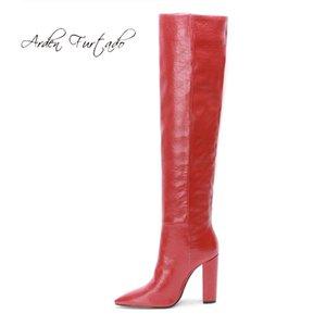 Arden Furtado 2020 Moda Calçados Femininos Inverno Toe Pointed Chunky Heels senhoras elegantes botas amarelas sobre o joelho alta botas