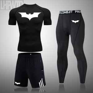 Fitness sport camicia da jogging t-shirt a maniche corte degli uomini abbigliamento maschile 2020 Batman cime compressione: sport set ad asciugatura rapida LJ200827