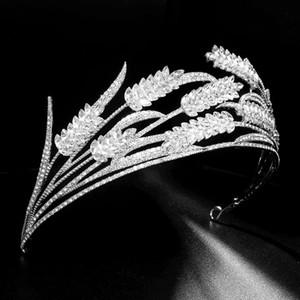 Luxury Handmade Crystal Wheat Pattern Crown Rhinestone Alloy Tiaras Fashion Bride Wedding Headdress Hair Accessories VL