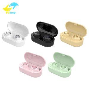 Los colores multi TW60 TWS inalámbrica Bluetooth para auriculares de alta fidelidad auricular estéreo 5.0 Touch Control de manos libres Construido en el MIC para las mujeres de la muchacha Mini Auriculares