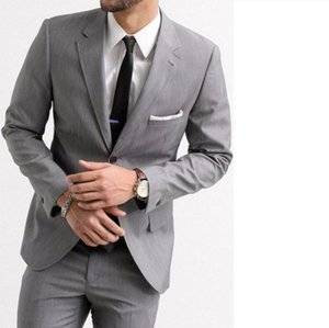 Custom Made Slim Fit Grey Men Suit Jacket Wedding Suits for Men Groom Tuxedos Blazer 2 Piece Jacket+Pants