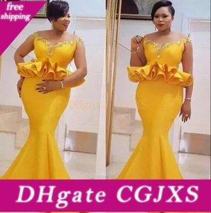 Bright Yellow Mermaid Prom Dresses Plus Size Satin Ruffles peplo da sera Aso Ebi sweep treno Vestito da partito convenzionale