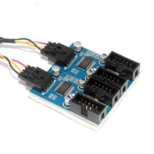 conector USB macho de 9 pines 1 a 2/4 cable de extensión femenino de tarjetas de sobremesa de 9 pines HUB USB 2.0 de 9 pines del conector del adaptador de puerto multiplicador