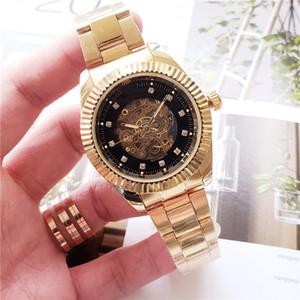 automático de los relojes mecánicos de alta calidad reloj de pulsera de diamantes de acero de los hombres al por mayor maestro suizo de relojería esqueleto Orologi di Lusso