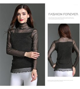 Womens Sexy Net Bottoming Shirt Casual Spring Designer Turtleneck Long Sleeve Sheer Lace Vest Tees