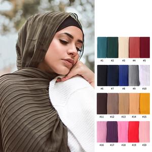 mode nouvelle mousseline hijab écharpe châles et arab enveloppements musulman couleur turban soild froissement hijab femme 70 * 180cm musulman