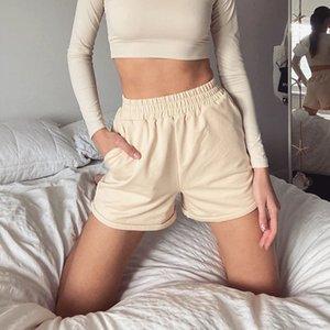YICIYA 2020 vestiti da estate delle donne casuale solido Cotone Sport Pantaloncini Donne Harajuku vita alta pantaloncini corti pantaloni signore
