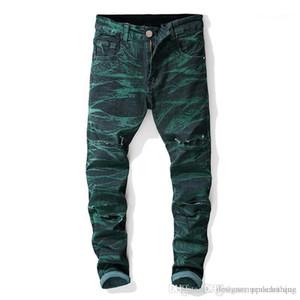 Мужские джинсы Середина талии Обычный Distrressed Мужской Одежда Straight Дизайнерские мужские джинсы Дыры Stretch Tie Dye Длинные