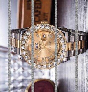 партия элегантный часы день Дата Унисекс Дизайнер Double Chronograph Big Алмазный камень Часы из нержавеющей стали Мужчины Женщины кварцевые часы