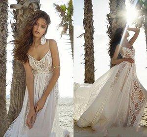 Bohemian Lace Country Wedding Dresses 2021 Sexy Spaghetti Straps Backless Boho Beach Bridal Gowns Backless A Line Vestidos De Novia AL7148