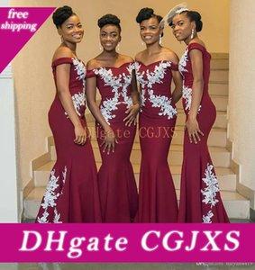 2020 새로운 아프리카 부르고뉴 오프 숄더 들러리 드레스 공주 긴 흰색 레이스 아플리케 저렴한 새틴 스위프 기차 웨딩 게스트 드레스