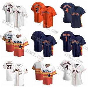 2020 Houston Astros de Béisbol 54 Roberto Osuna 15 Martin Maldonado 55 Ryan Pressly 43 Lance McCullers Jr. Naranja Blanco de encargo azul cosido
