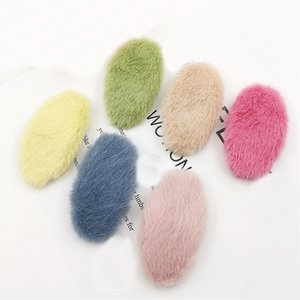 Women Girls Fuzzy Oval Hair Clips plush Hairpins Winter soft Faux Fur Barrettes Hairgrips Bang Clamp Clips Hair Accessories