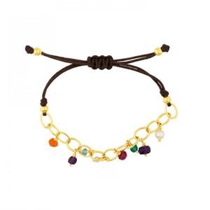 Nova Moda aço inoxidável tem encantos macramé artesanal cadeia com as mulheres jóia frisada pulseira de presente tamanho ajustável
