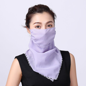 Women Scarf Face Mask Outdoor Windproof Dust-proof magic scarf Chiffon Handkerchief Sunproof Sunscreen scarf Breathable Masks