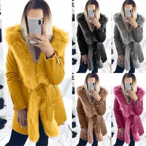 Frauen Designer Mäntel Mode Revers Hals mit Faux-Pelz-warmen Mantel-Winter-Frauen Kleidung Plus Size