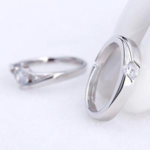 Ehering Paar Adjustable Verpflichtungs öffnen Cubic Ringe Kristallsilber Zirkonia Ring lihuibusiness wyFhm