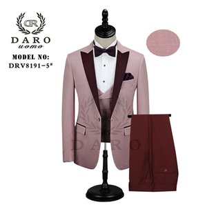 DARO Men Suit Bridegroom Wedding Tuxedo New Style Blazer Pattern Jacket Vest Pant 3 Piece Slim Fit White Gold Blue Wine Party 200922