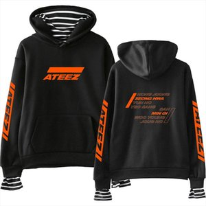 Hot Sale ATEEZ Print Fake Two Pieces Hoodies Casual Women Hoodies Sweatshirts Kpops Harajuku Cool And Fashion Style Clothes