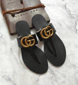 Männer Frauen Slide Sandalen Designer-Schuhe Luxus Slide Summer Fashion breite flache Slippery mit dicken Sandalen Slipper Flip Flops Echtleder