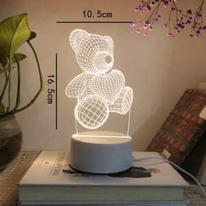 Battery Desk Lamp 3D Lamp Novelty Night Light Kid Christmas Gift Toys New Bear Shape Table lamp USB LED 7 Colors Changing